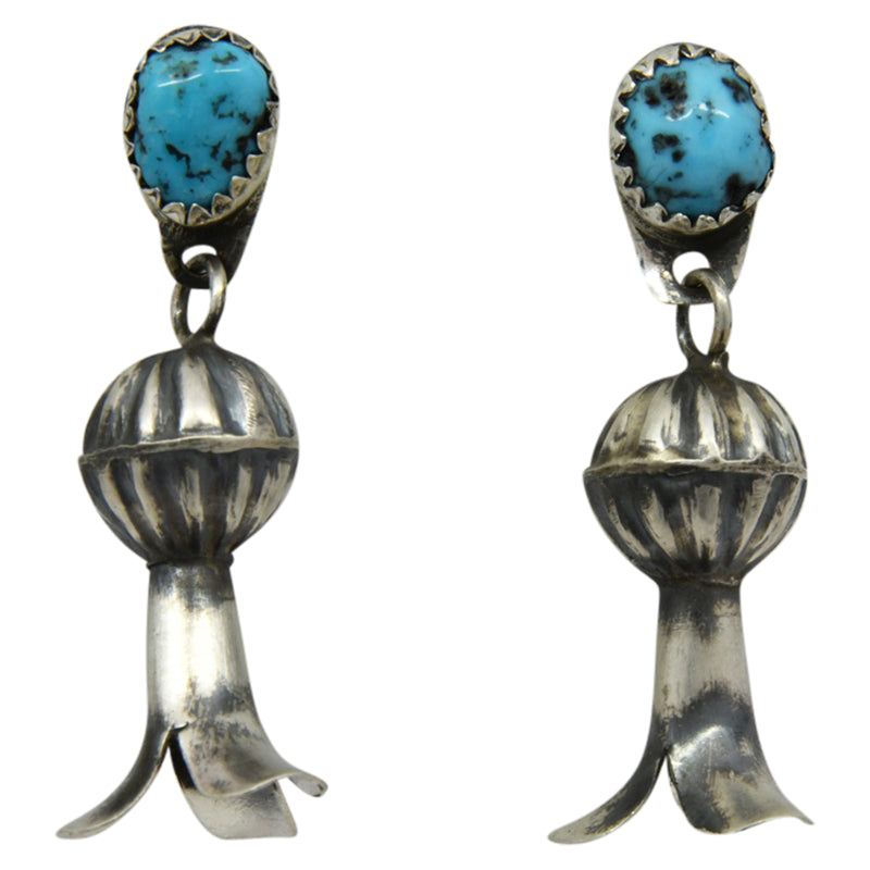 Lenora Garcia Sterling Silver Navajo Turquoise Squash Blossom Post Earrings