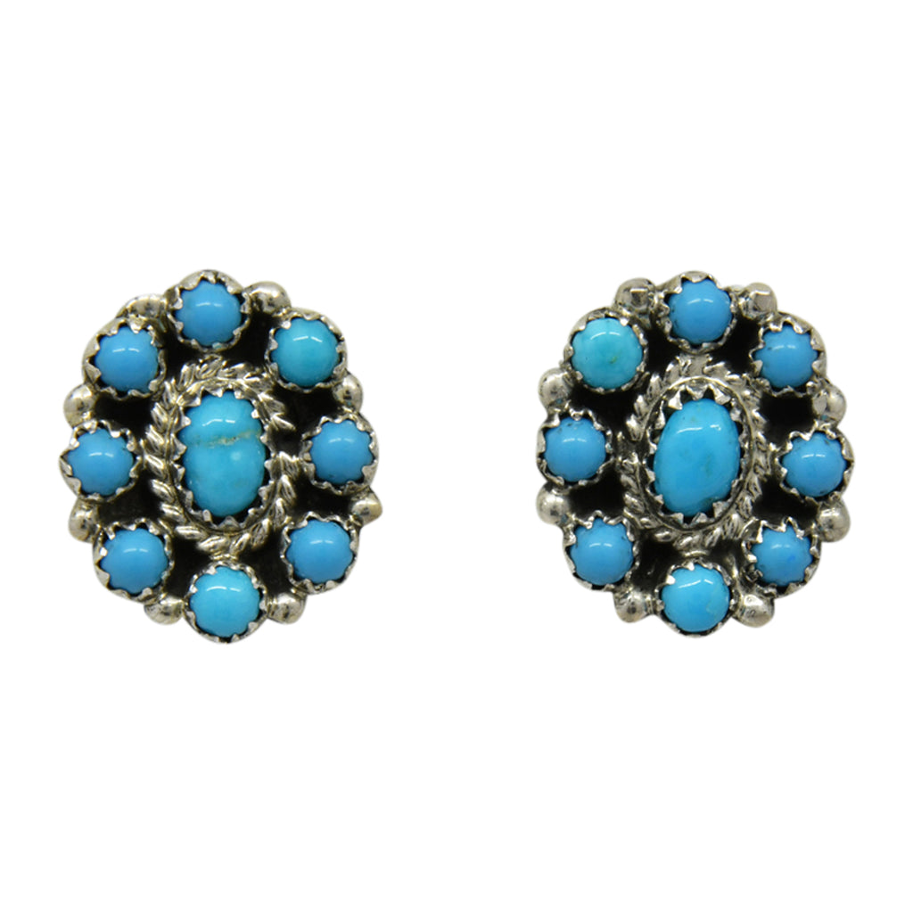 Nathaniel Curley Sterling Silver Navajo Turquoise Cluster Post Earrings