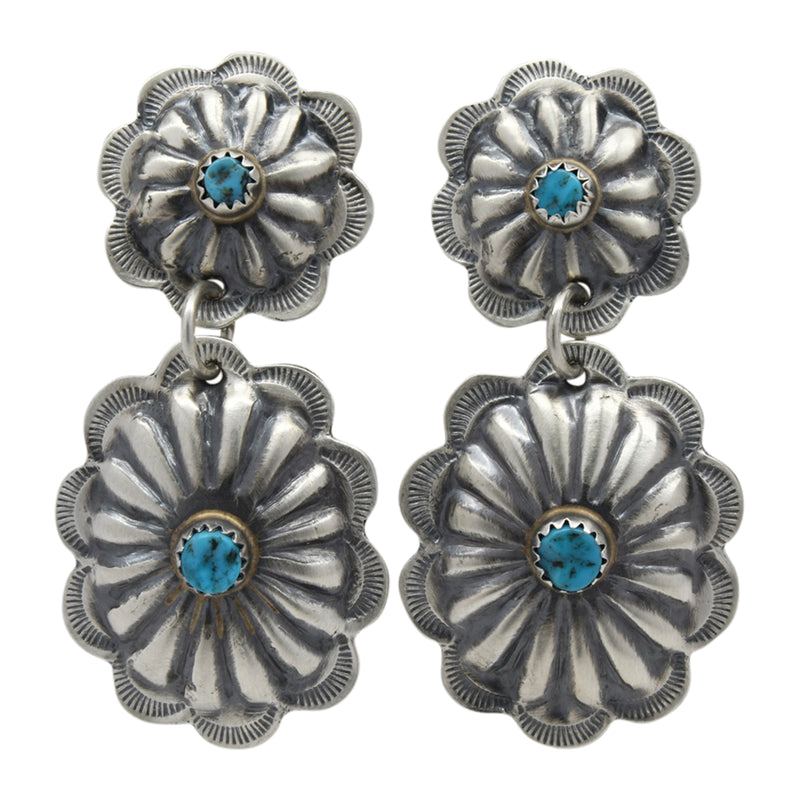Ryan Begay Sterling Silver Navajo Turquoise Double Concho Post Dangle Earrings