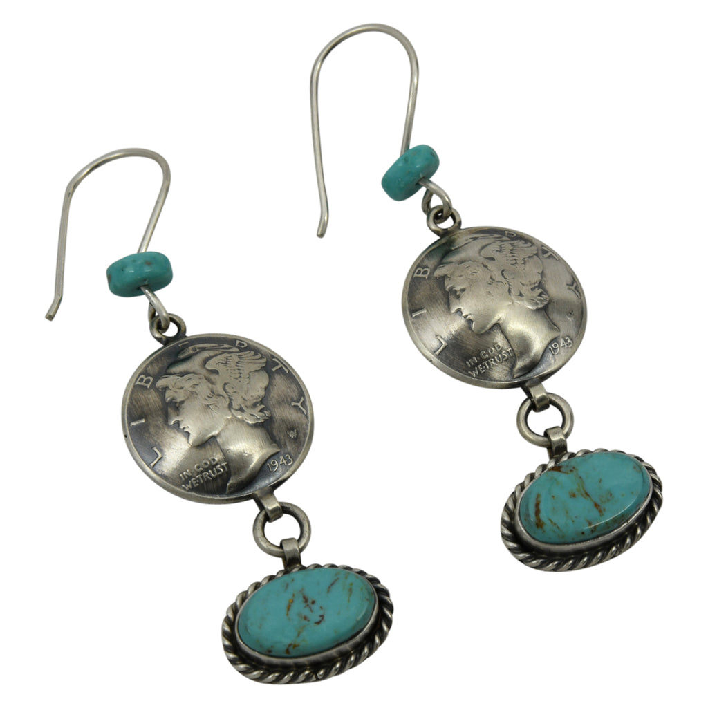 James McCabe Sterling Silver Navajo Turquoise Mercury Dime Dangle Earrings
