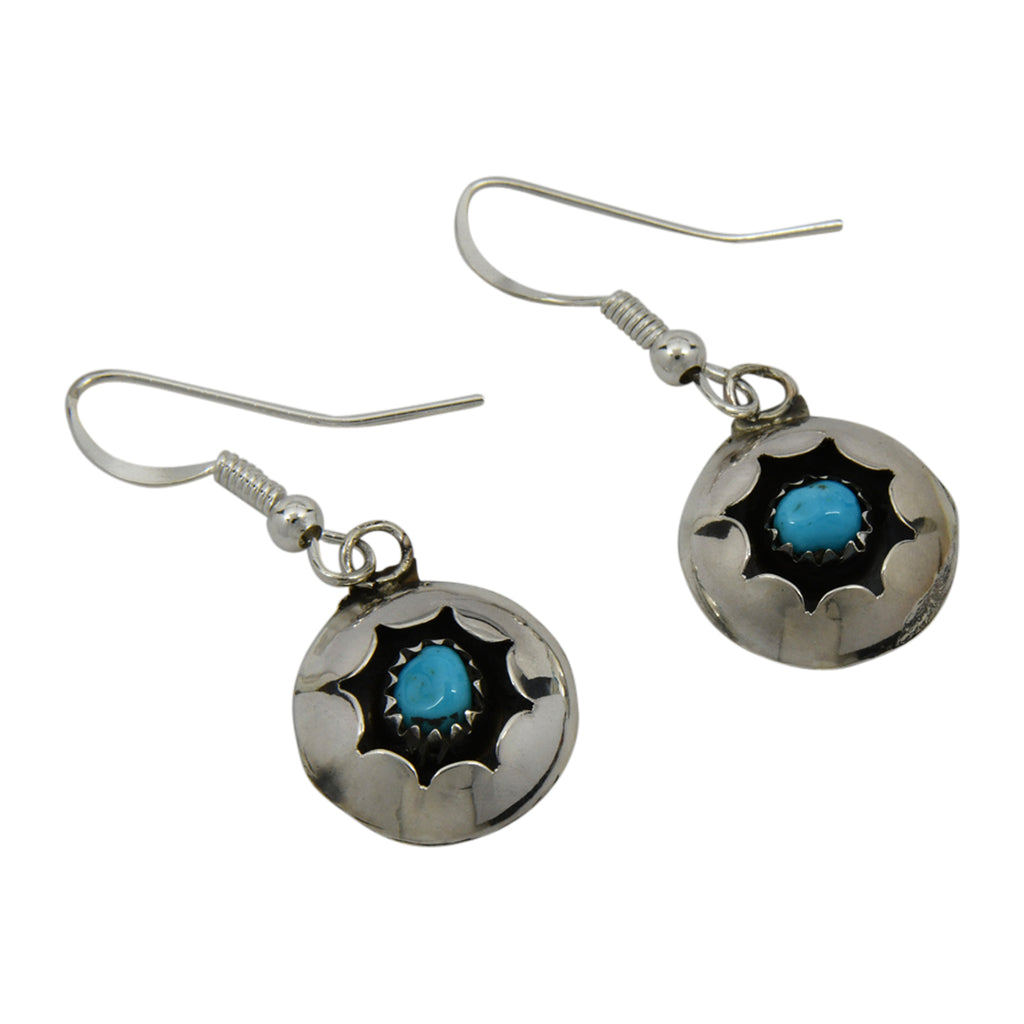 Esther White Sterling Silver Navajo Turquoise Round Shadow Box Earrings