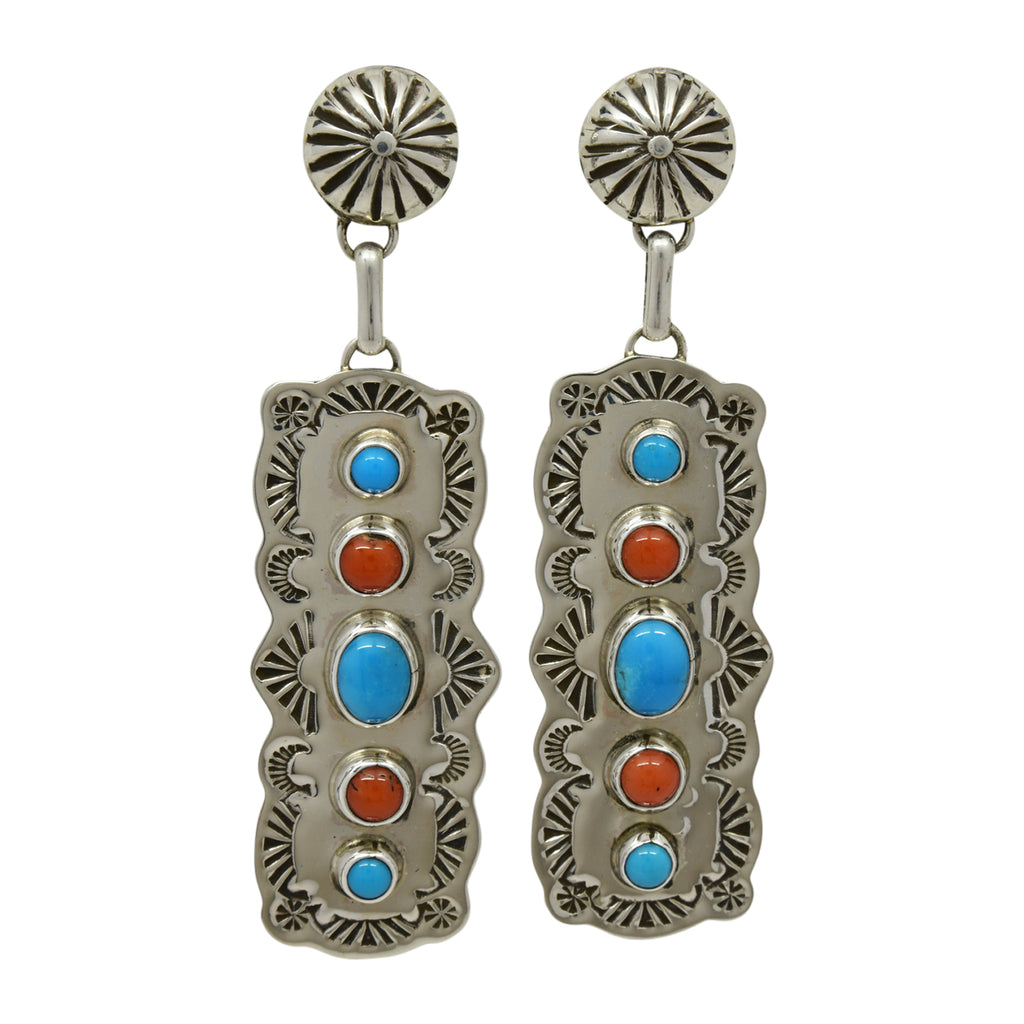 Jeff James Jr Sterling Silver Navajo Turquoise & Coral 5 Stone Stamped Post Earrings