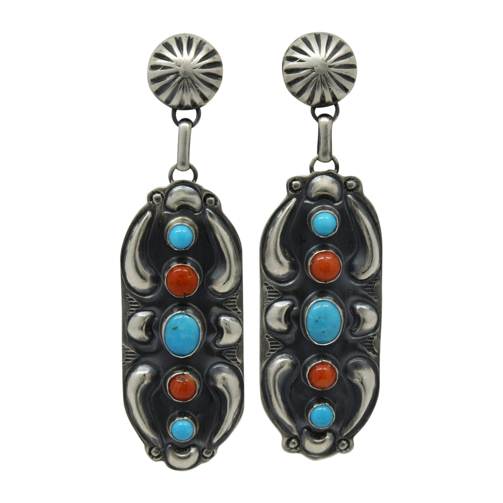 Jeff James Jr Sterling Silver Navajo Turquoise & Coral 5 Stone Repousse Post Earrings