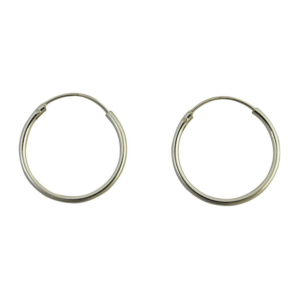 Sterling Silver Endless Hoop Earrings Round 1.25mm Wide. Available in 10mm to 70mm