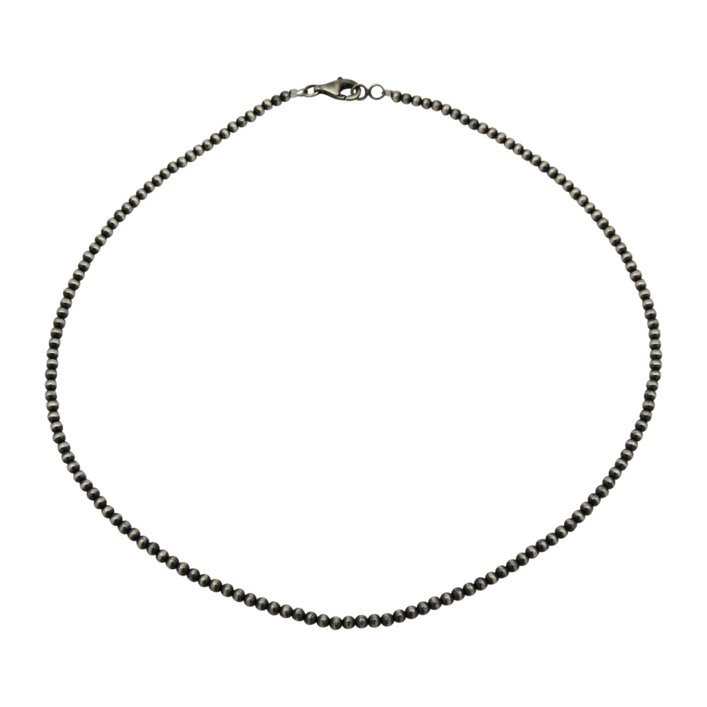 "Sterling Silver Navajo Pearl 3mm Oxidize Bead Necklace. Available from 14"" to 60"""