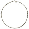 "Sterling Silver Navajo Pearl 4mm Oxidize Bead Necklace. Available from 14"" to 60"""