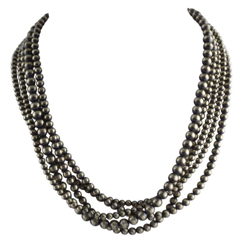 "Sterling Silver Navajo Pearl 5 Strand Mixed Bead Necklace. Available from 18"" to 80"""
