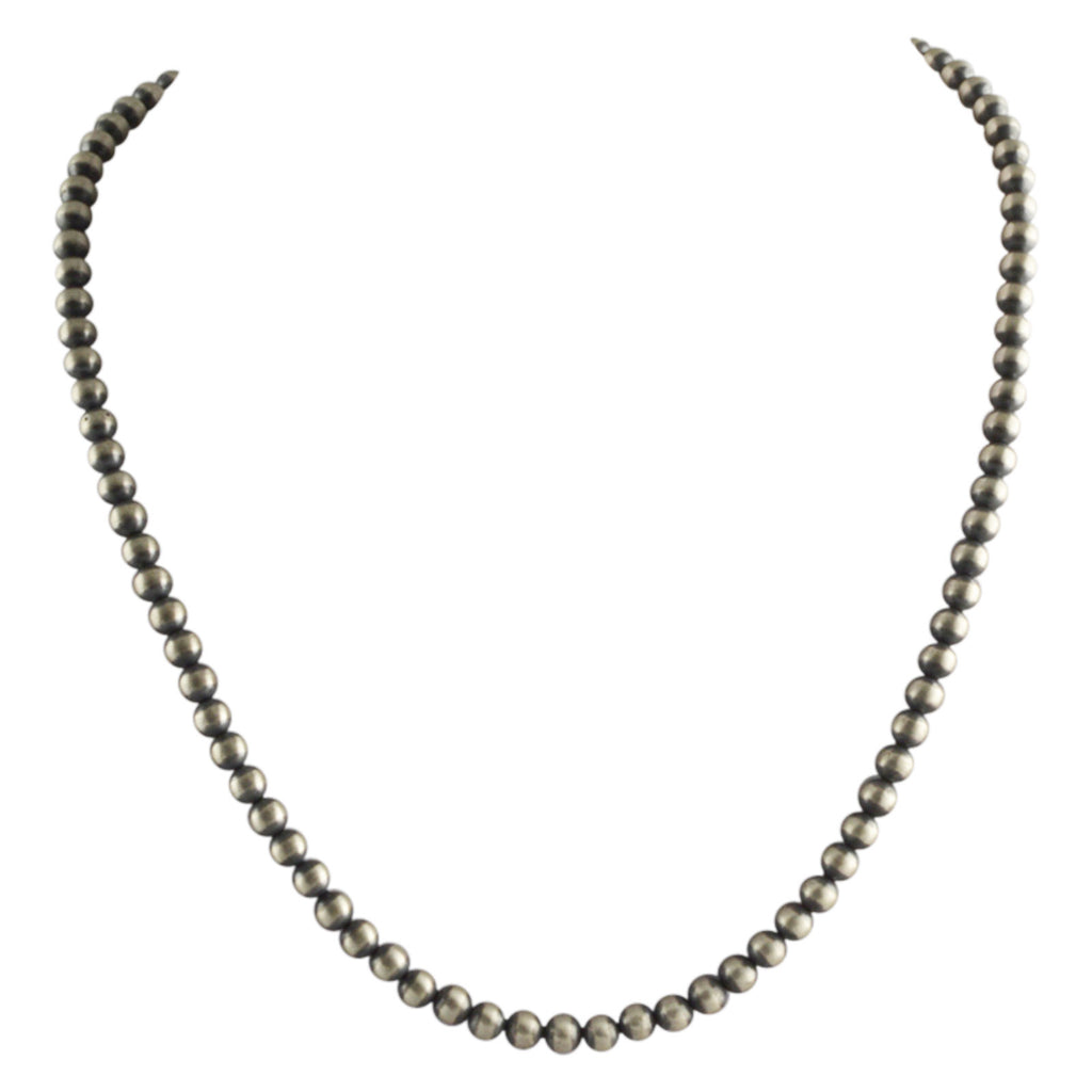 "Sterling Silver Navajo Pearl 5mm Oxidize Bead Necklace. Available from 14"" to 60"""