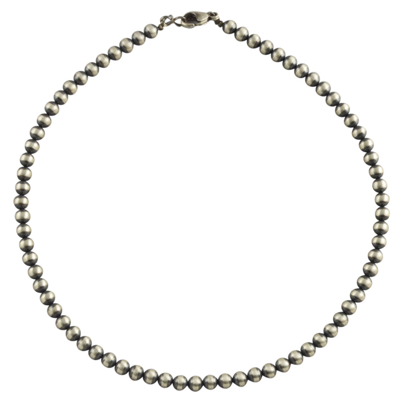 "Sterling Silver Navajo Pearl 6mm Oxidize Bead Necklace. Available from 14"" to 60"""