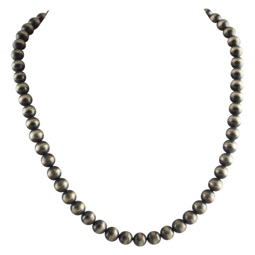"Sterling Silver Navajo Pearl 8mm Oxidize Bead Necklace. Available from 16"" to 60"""
