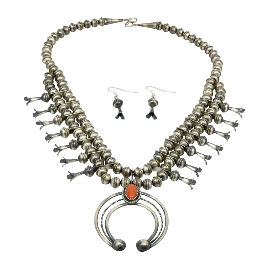 Phil Garcia Oxidized Sterling Silver Navajo Coral Squash Blossom Necklace Earring Set