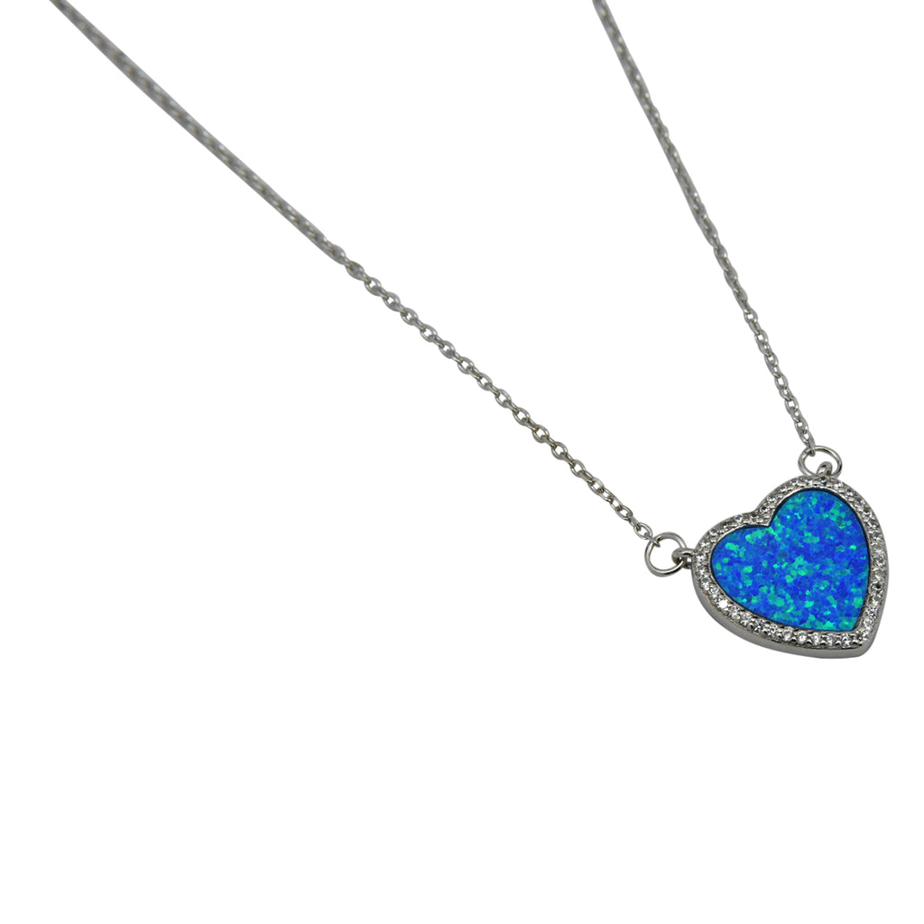 Sterling Silver Blue Lab Opal & CZ Heart Necklace
