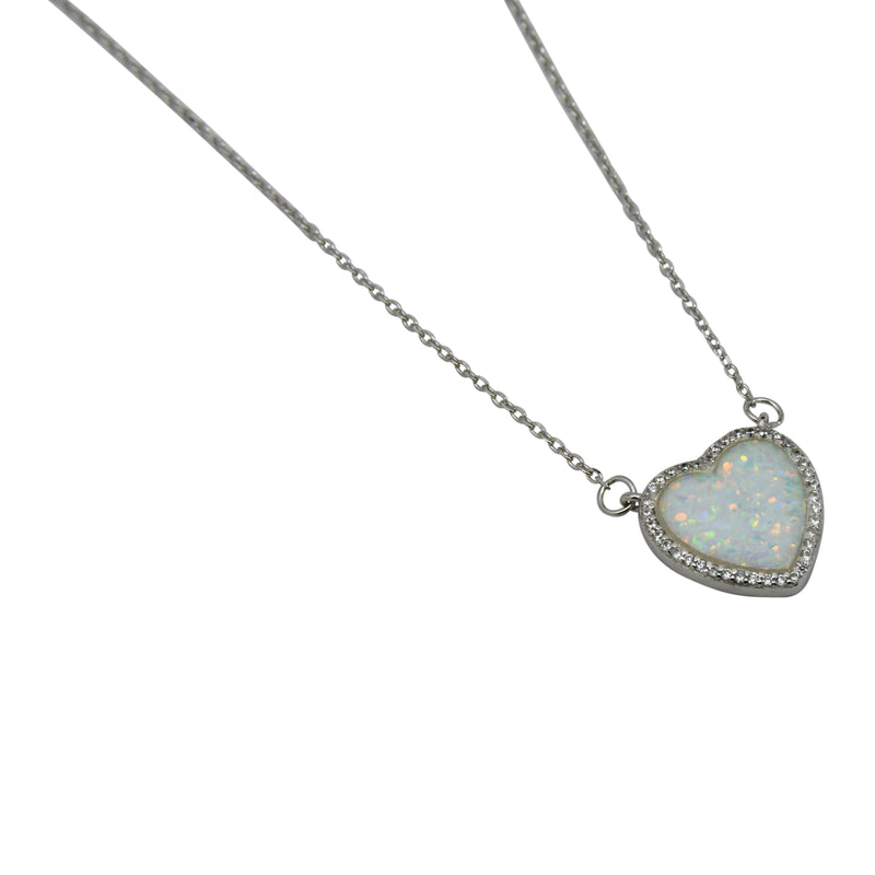 Sterling Silver White Lab Opal & CZ Heart Necklace