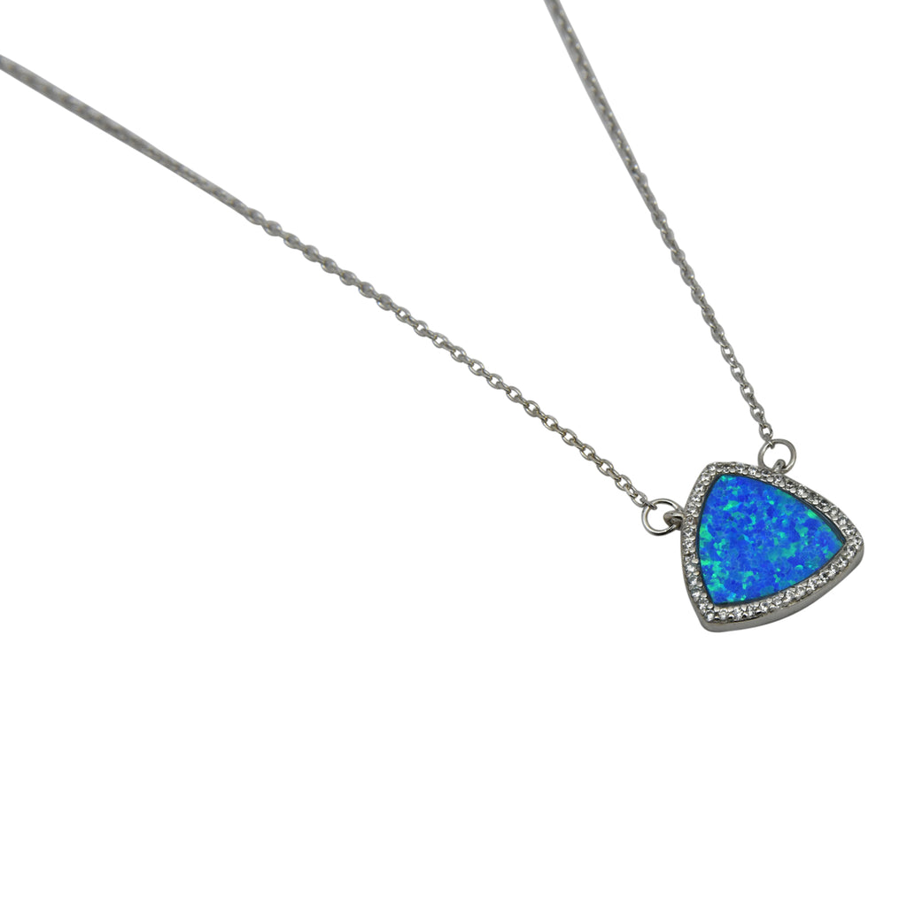 Sterling Silver Blue Lab Opal & CZ Triangle Necklace
