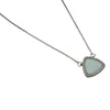 Sterling Silver White Lab Opal & CZ Triangle Necklace