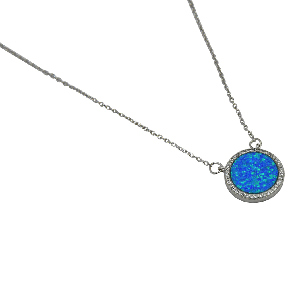 Sterling Silver Blue Lab Opal & CZ Round Necklace