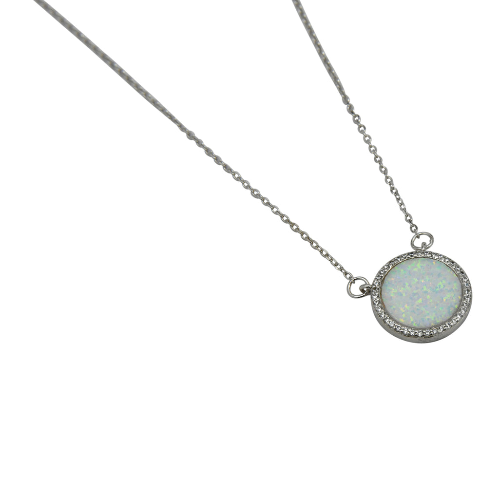Sterling Silver White Lab Opal & CZ Round Necklace
