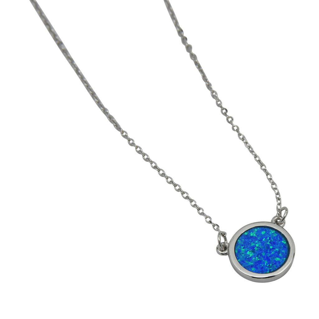 Sterling Silver Blue Lab Opal Round Necklace