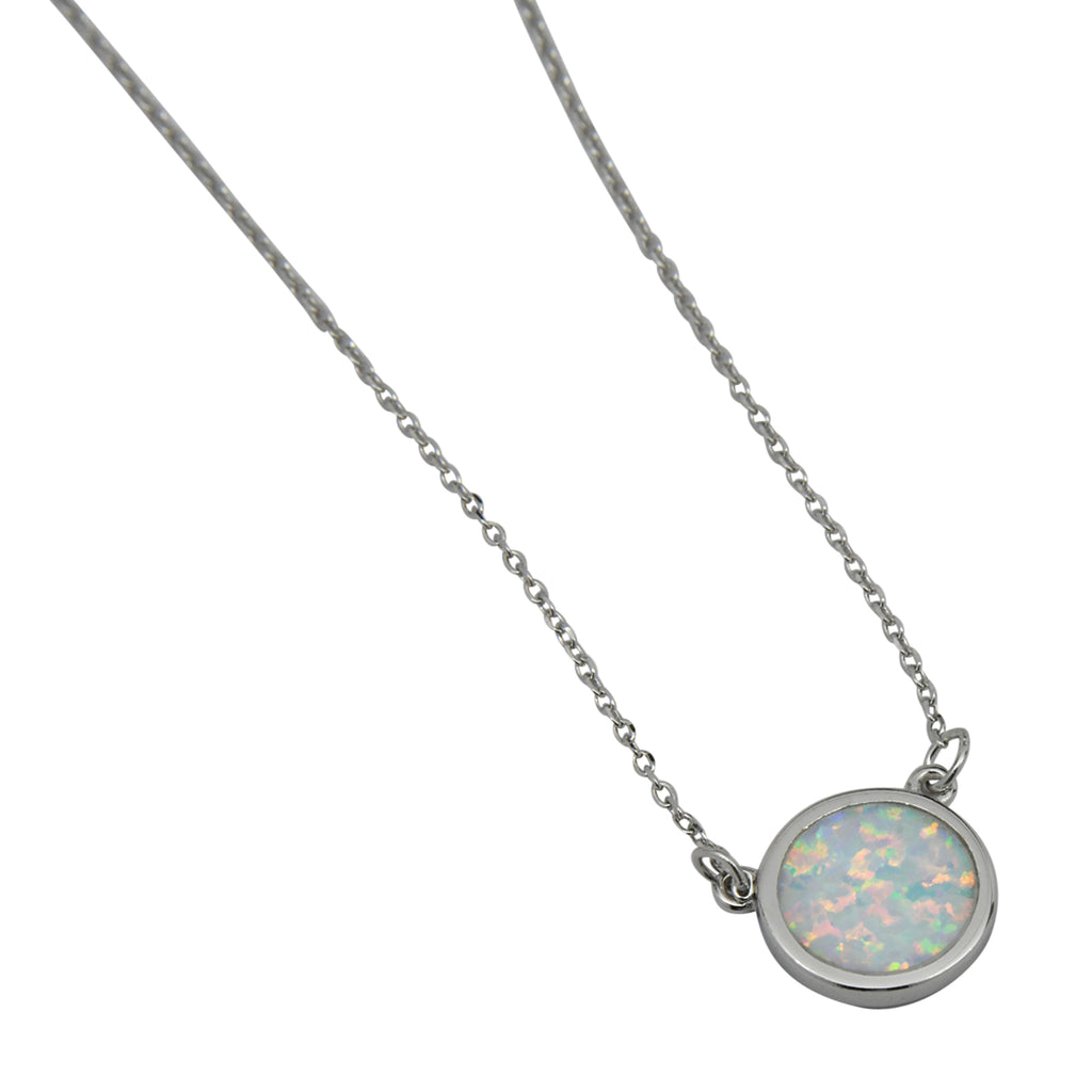 Sterling Silver White Lab Opal Round Necklace