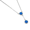 Sterling Silver Blue Lab Opal Round Lariat Necklace