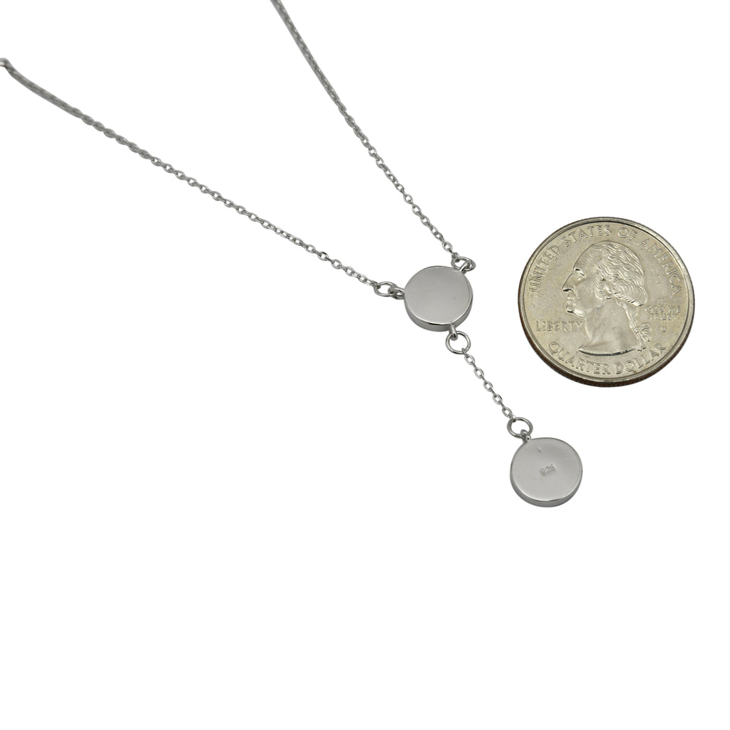 Sterling Silver White Lab Opal Round Lariat Necklace
