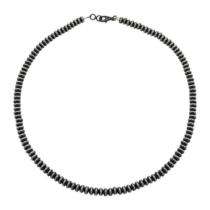 "Sterling Silver Navajo Pearl 5.5mm Saucer Oxidized Bead Necklace. Available from 16"" to 30"""