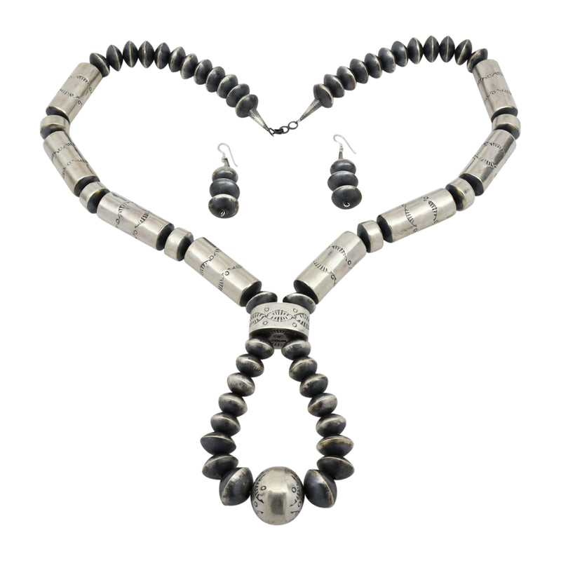 Sophia Becenti Sterling Silver Jacla Large Tube Bead Navajo Necklace Earring Set