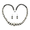 Sophia Becenti Sterling Silver Graduated Stamped Bead Navajo Necklace Earring Set