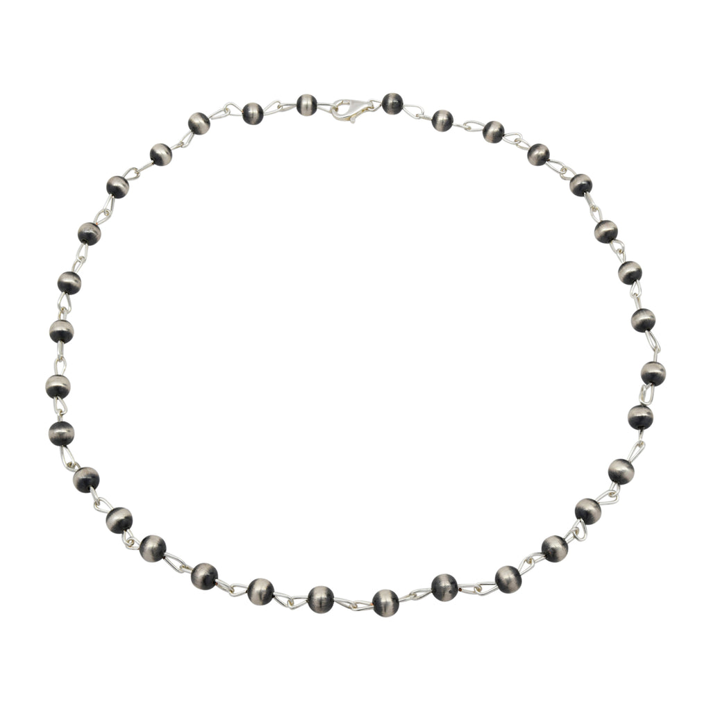 Sterling Silver 8mm Navajo Pearl Link Lariat Necklace