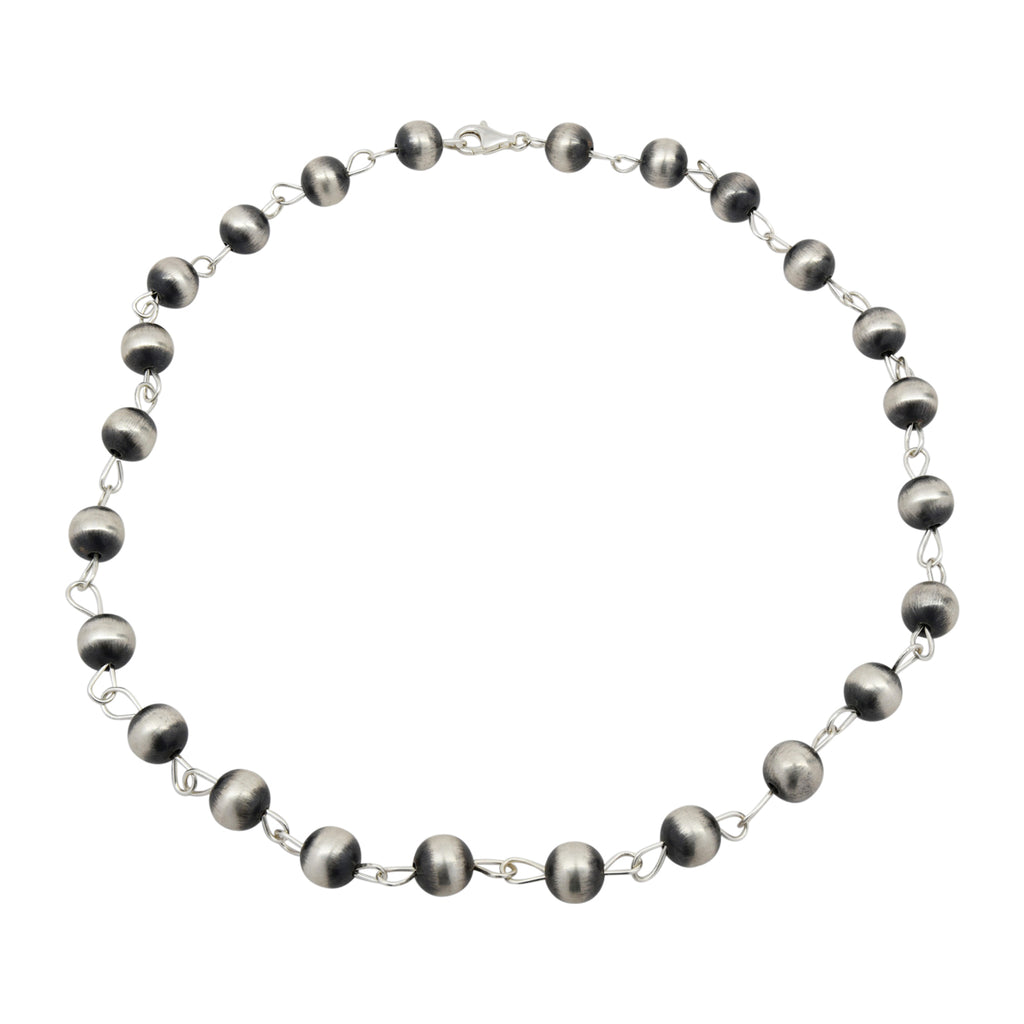 "Sterling Silver 12mm Navajo Pearl Link Lariat Necklace. Available in 20"" to 36"""