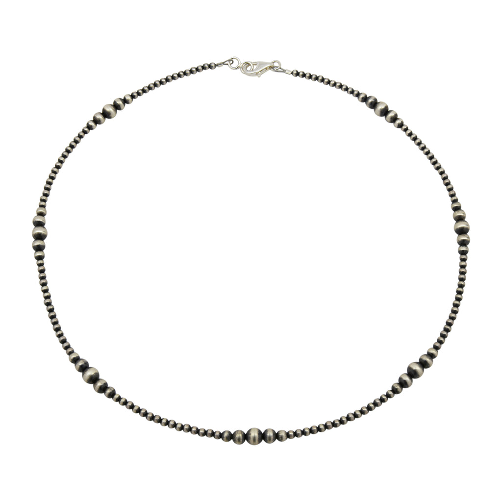 "Sterling Silver Mixed Graduated Navajo Pearl Oxidized Bead Necklace. Available from 14"" to 60"""