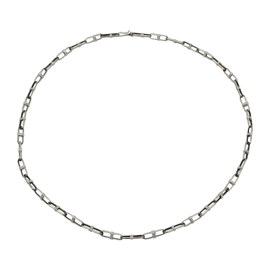 "Sally Shirley Sterling Silver Navajo 14 Gauge Half Round Handmade Paper Clip Chain. Available from 24"" to 30"""