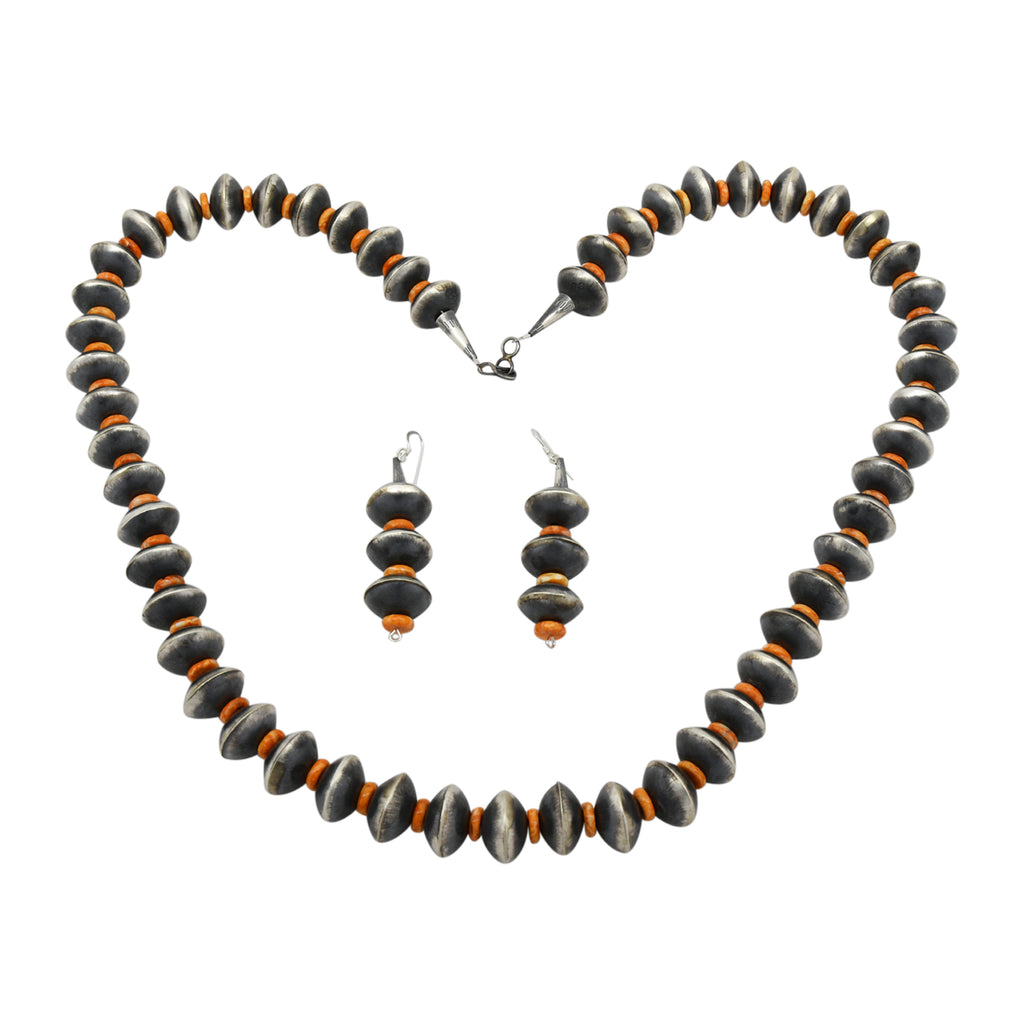 Sophia Becenti Sterling Silver Orange Spiny Oyster & Navajo Pearl Bead Necklace Earring Set