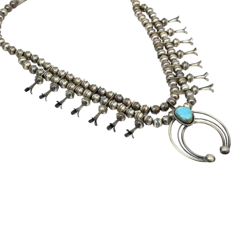 Phil Garcia Oxidized Sterling Silver Navajo Blue Turquoise Squash Blossom Necklace Earring Set