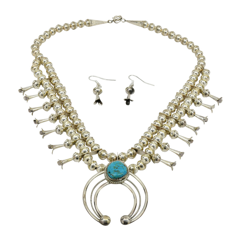 Phil Garcia Sterling Silver Navajo Blue Turquoise Squash Blossom Necklace Earring Set