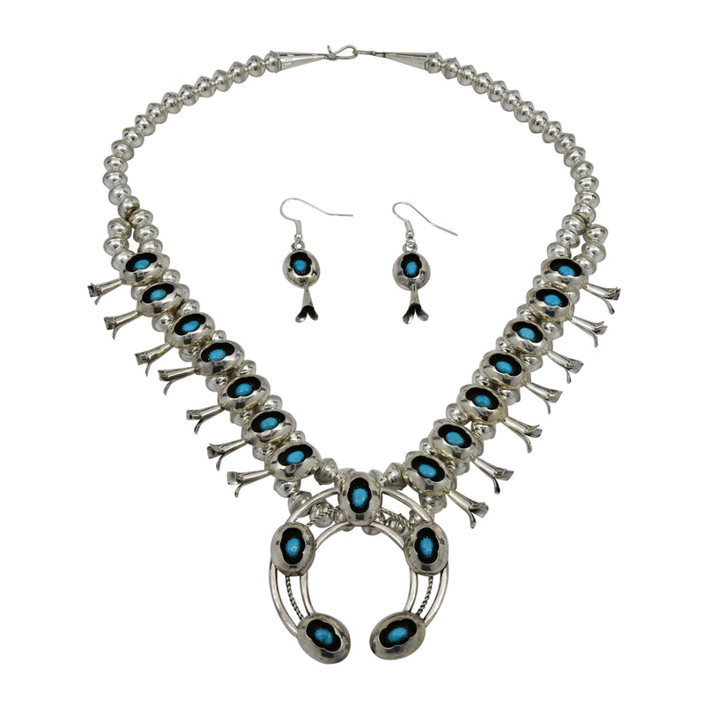 Phil Garcia Sterling Silver Navajo Turquoise Shadow Box Squash Blossom Necklace Earring Set