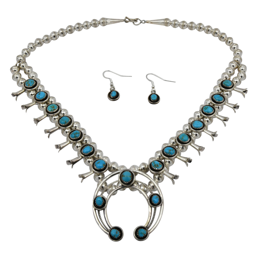 Phil & Lenora Garcia Sterling Silver Turquoise Squash Blossom Navajo Necklace