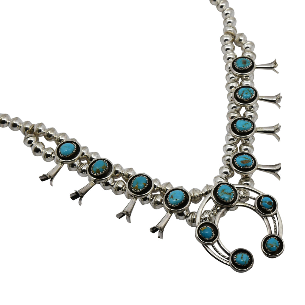 Phil & Lenora Garcia Sterling Silver Turquoise Short Squash Blossom Navajo Necklace