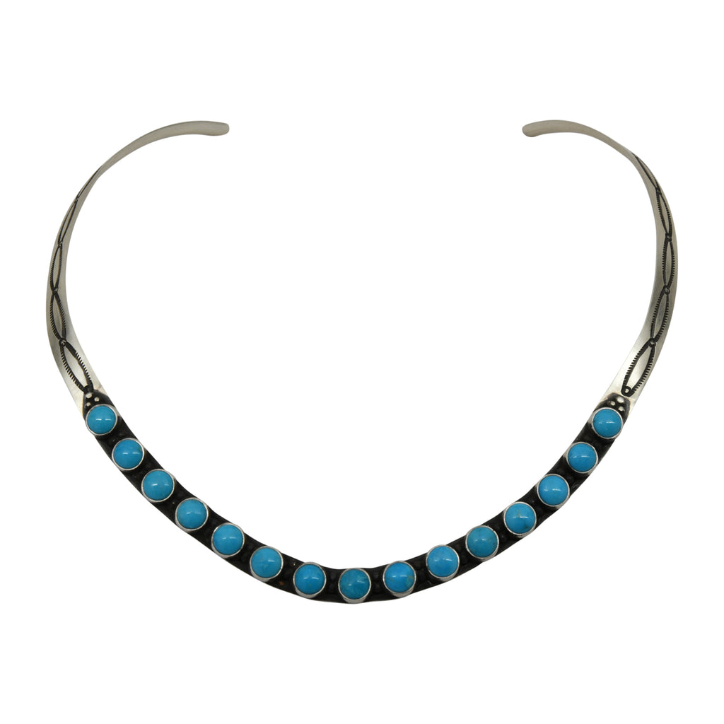 Herman Smith Sterling Silver Navajo Turquoise Collar Necklace