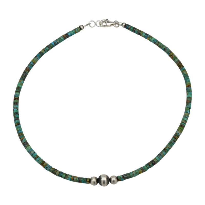 "Sterling Silver Turquoise Heishi & 3 Bead Navajo Pearls Necklace 14"" to 18"""