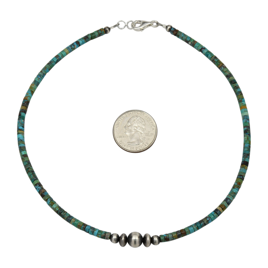 "Sterling Silver Turquoise Heishi & Navajo Pearl Bead Necklace 14"" to 18"""
