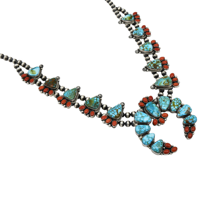Danny Clark Sterling Silver Kingman Tuquoise & Coral Navajo Squash Blossom Necklace