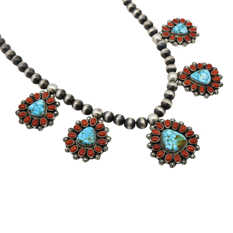 Kathleen Chavez Sterling Silver Kingman Turquoise & Coral Cluster Navajo Necklace