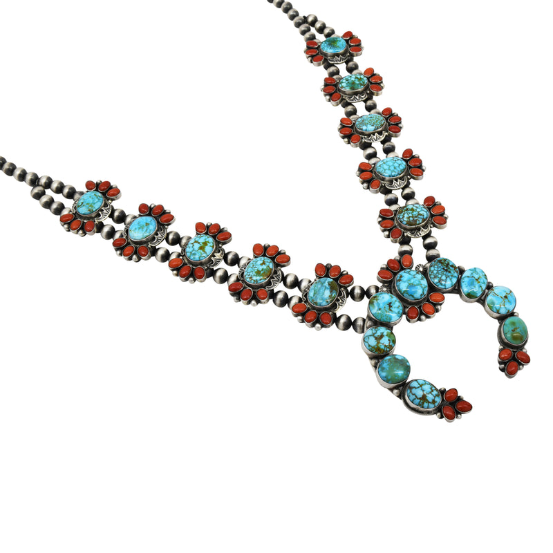Danny Clark Sterling Silver Kingman Turquoise & Coral Navajo Squash Necklace