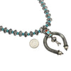 James McCabe Sterling Silver Turquoise & Coral Inlay Mercury Dime Navajo Naja Necklace