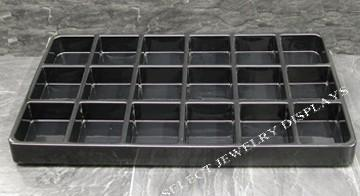 "Black Heavy Duty Plastic Stackable 18-Section Tray Liner Tray Insert 3-5/8"" H"
