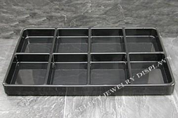 "Black Heavy Duty Plastic Stackable 8-Section Tray Liner Tray Insert 3-5/8"" H"