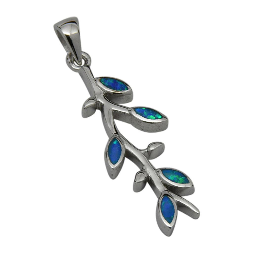 Sterling Silver Blue Lab Opal Olive Branch Pendant