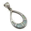 Sterling Silver White Lab Opal Inlay Tear Drop Pendant