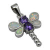 Sterling Silver White Lab Opal & Purple CZ Dragonfly Pendant